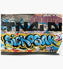 Abstract Graffiti on the grunge textured Brick Wall Poster