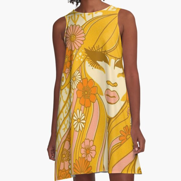 Yellow Flowers Trixie A-Line Dress