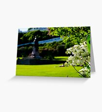 White Lilacs and Fr. Marquette Statue Greeting Card