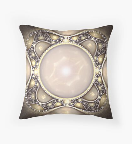 Pearl Brooch Throw Pillow