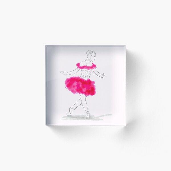 Pink Ballerina illustration Acrylic Block