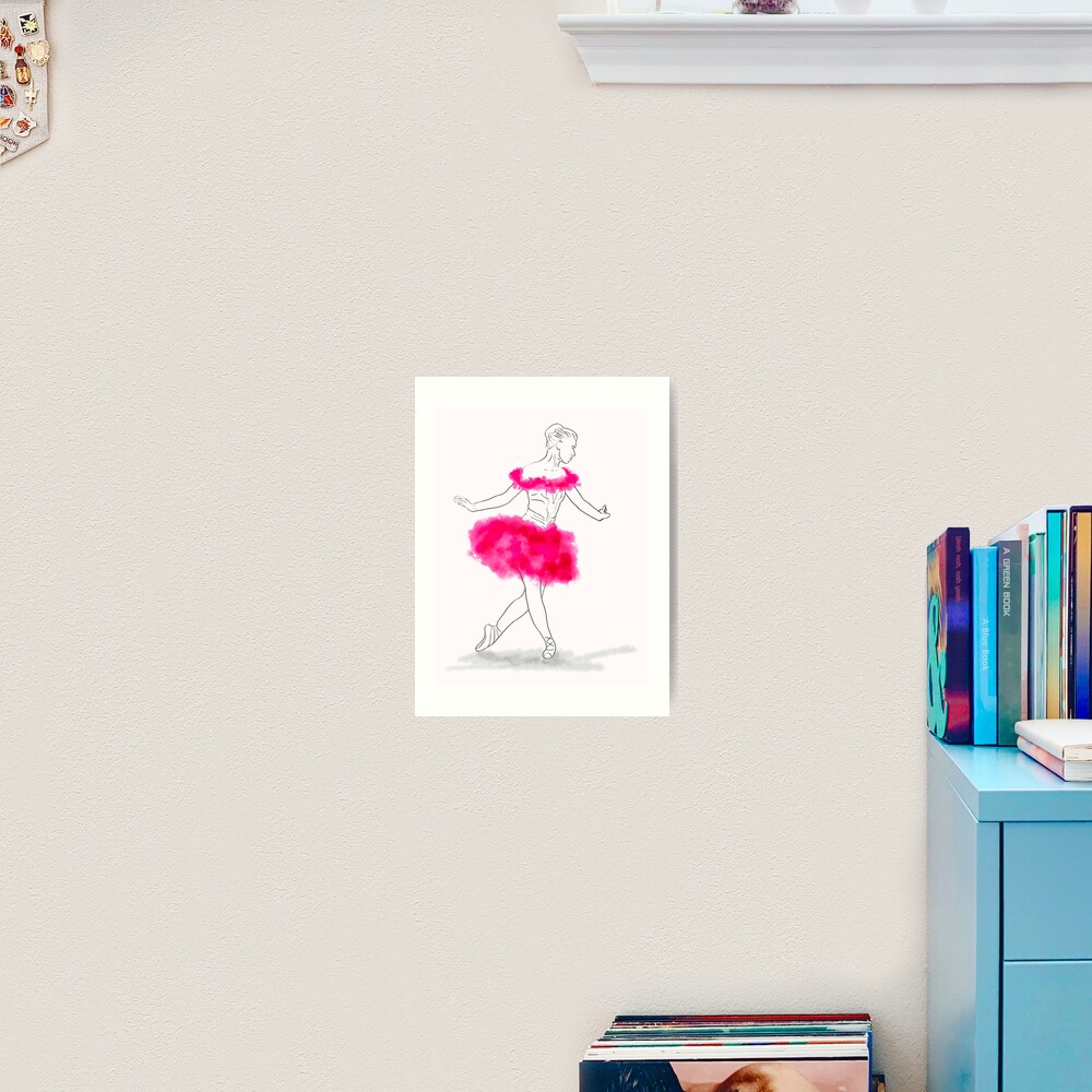Pink Ballerina illustration Art Print