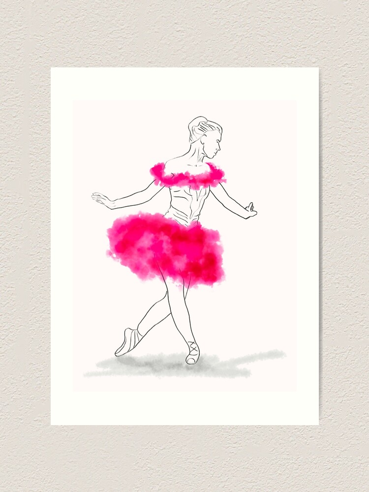 Alternate view of Pink Ballerina illustration Art Print