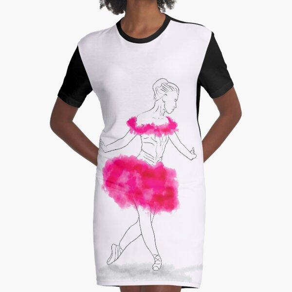 Pink Ballerina illustration Graphic T-Shirt Dress