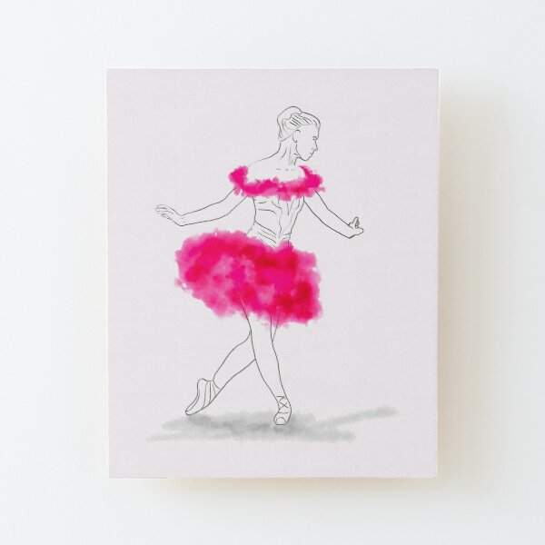 Pink Ballerina illustration Wood Mounted Print