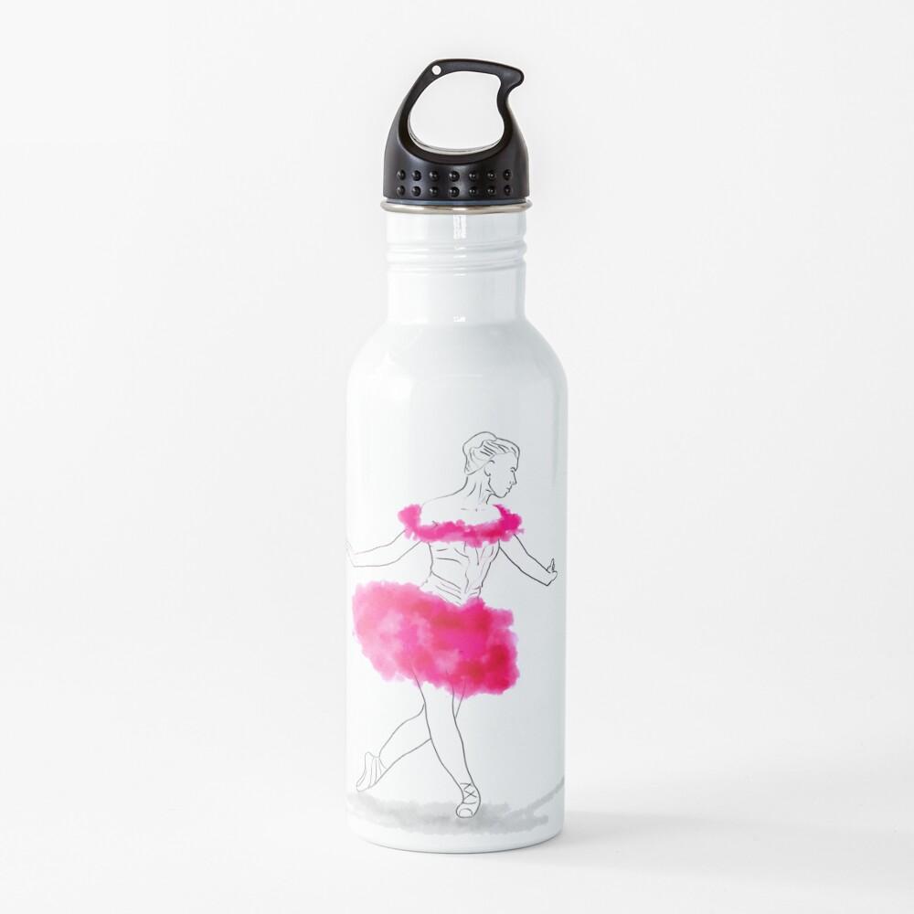 Pink Ballerina illustration Water Bottle