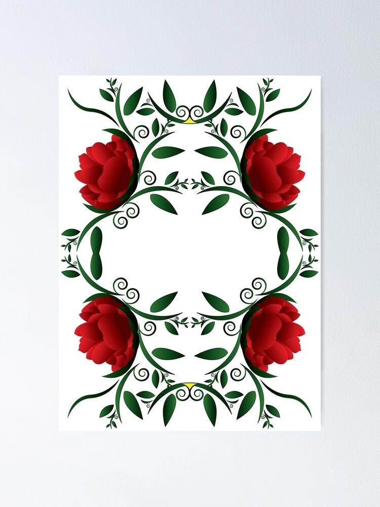 Rose Vine Poster By Ddesignnstudio Redbubble