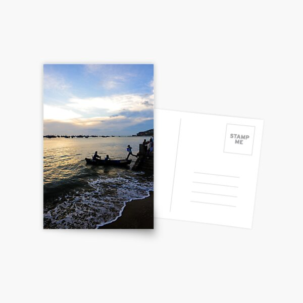 Man leaps across water to boat. Hang Dua Bay, Vung Tau, Vietnam Postcard