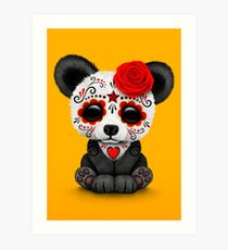 Red Day of the Dead Sugar Skull Panda on Yellow Art Print