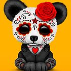Red Day of the Dead Sugar Skull Panda on Yellow by jeff bartels