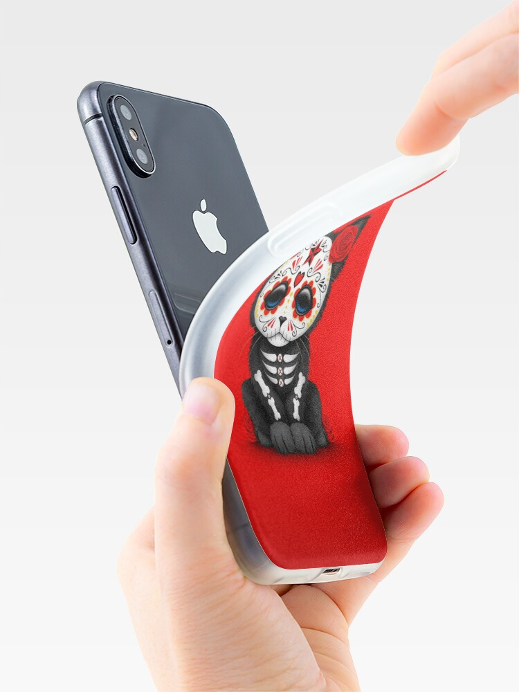 Alternate view of Cute Red Day of the Dead Kitten Cat iPhone Case & Cover