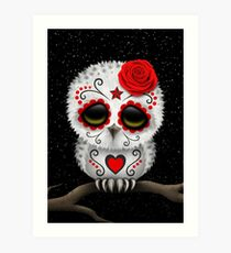 Cute Red Day of the Dead Sugar Skull Owl Art Print