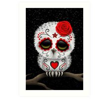 "Day Of The Dead Wall Art cute red day of the dead sugar skull owl"" art printsjeff"
