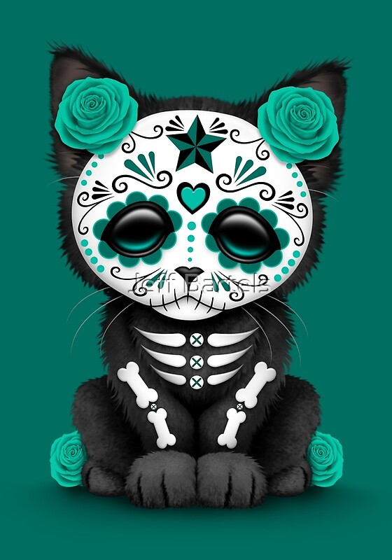 """Cute Teal Blue Day of the Dead Kitten Cat"" Art Prints by ..."