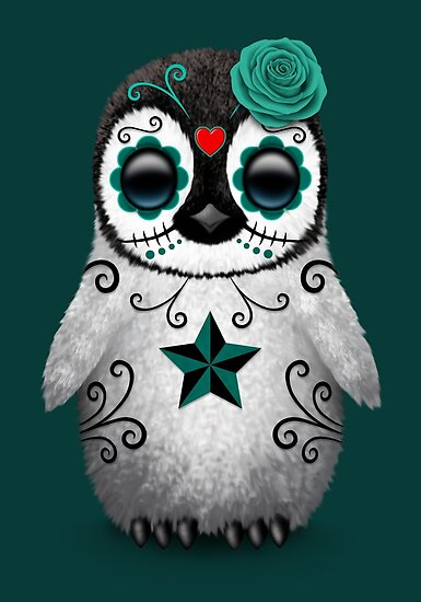 Quot Teal Blue Day Of The Dead Sugar Skull Penguin Quot Poster By