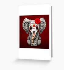 Red Day of the Dead Sugar Skull Baby Elephant Greeting Card