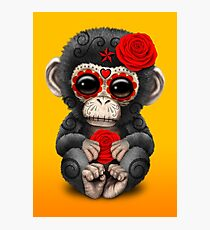 Red Day of the Dead Sugar Skull Baby Chimp Photographic Print