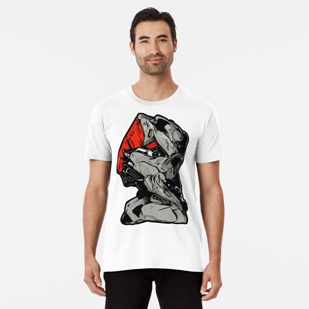 MECHANIZAM V Clean Red - Shirt (Cyberpunk Mech Robot Android 3D-Render Digital Art) Premium T-Shirt