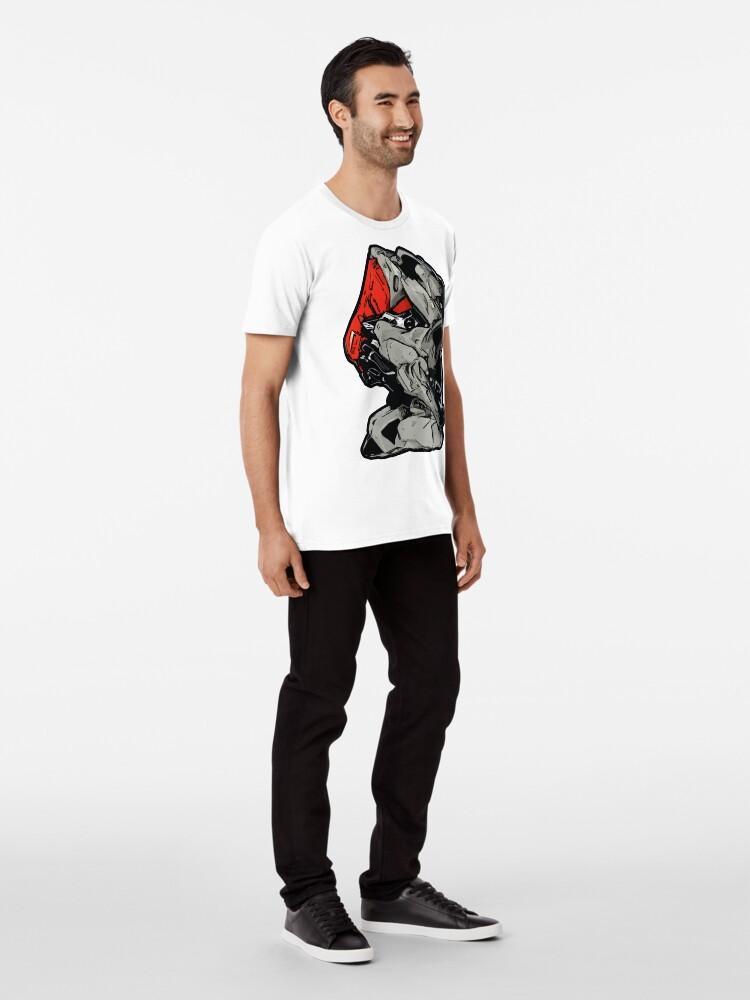 Alternative Ansicht von MECHANIZAM V Clean Red - Shirt (Cyberpunk Mech Robot Android 3D-Render Digital Art) Premium T-Shirt