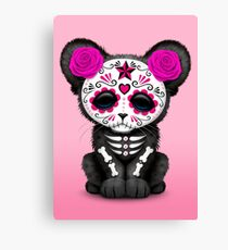 Pink Day of the Dead Sugar Skull Panther Cub Canvas Print