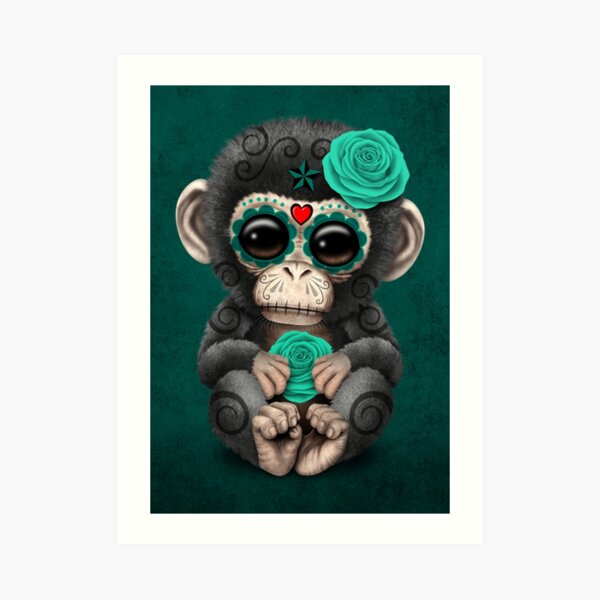 Teal Blue Day of the Dead Sugar Skull Baby Chimp Art Print