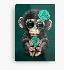 Teal Blue Day of the Dead Sugar Skull Baby Chimp Metal Print