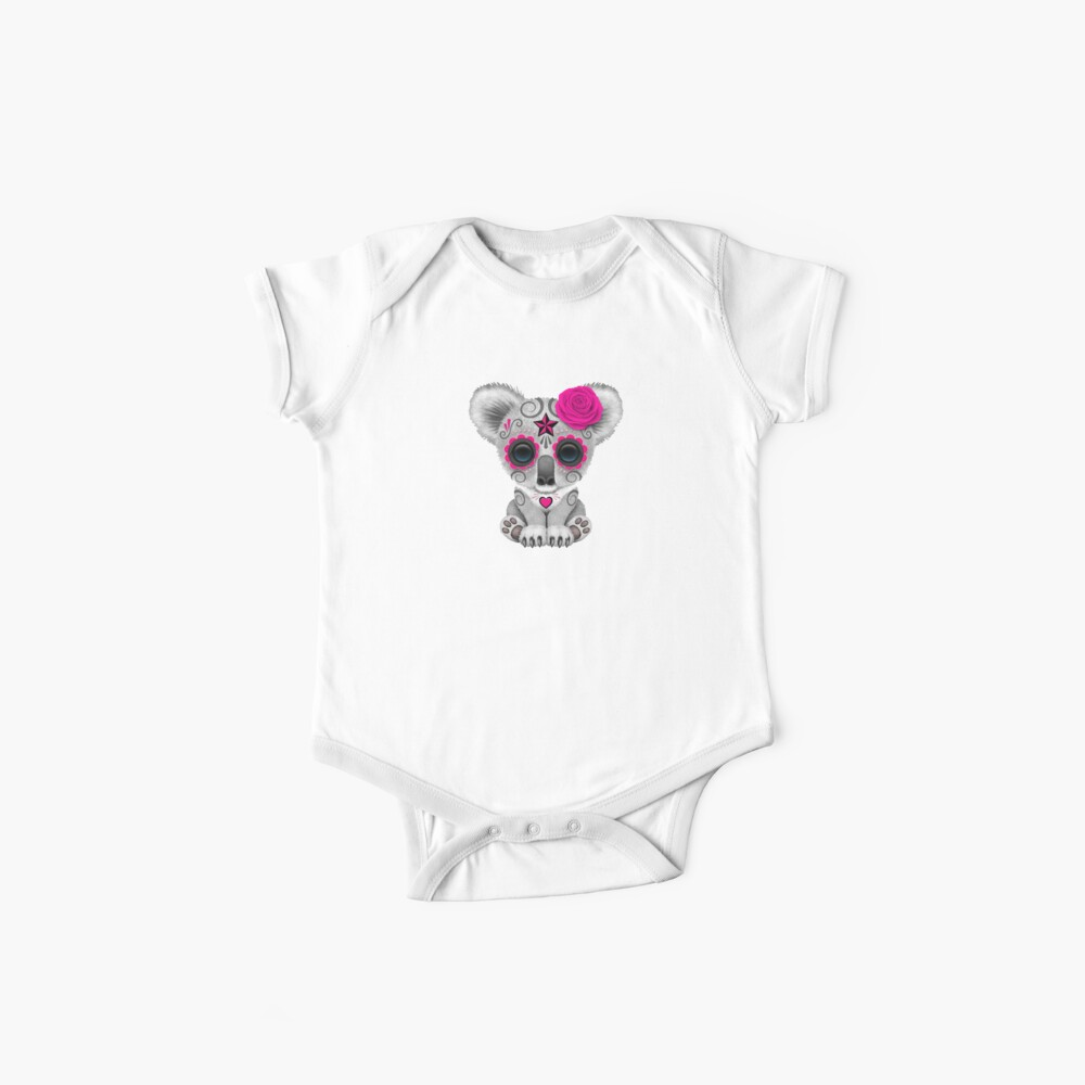 Pink Day of the Dead Sugar Skull Baby Koala | Baby One-Piece