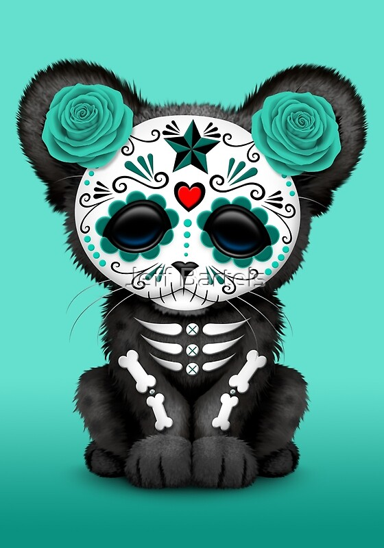 Quot Teal Blue Day Of The Dead Sugar Skull Panther Cub Quot Art