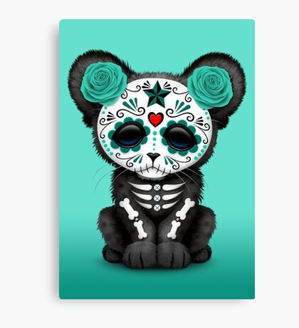 Teal Blue Day of the Dead Sugar Skull Panther Cub Canvas Print