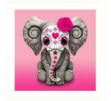 """Pink Day of the Dead Sugar Skull Baby Elephant"" Art ..."