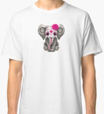 Pink Day of the Dead Sugar Skull Baby Elephant Classic T-Shirt