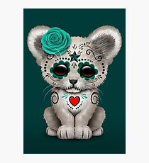 Teal Blue Day of the Dead Sugar Skull White Lion Cub Photographic Print