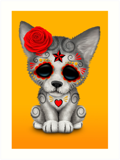 Quot Red Day Of The Dead Sugar Skull Wolf Cub Quot Art Prints By