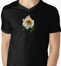 White Lily With Red Stripes Mens V-Neck T-Shirt