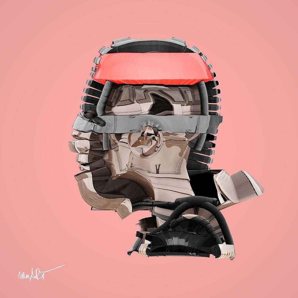 DISPLACEMIND III 12|2016 Rose - Print (Cyberpunk Displacement 3D-Render Digital Art) von nenART-Official