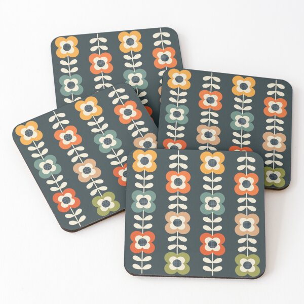 Mod Flowers in Retro Colors on Charcoal Coasters (Set of 4)