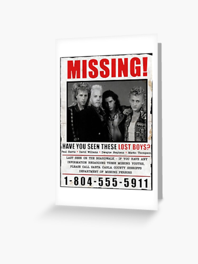 The Lost Boys Missing Greeting Card By Eldritchmarket Redbubble