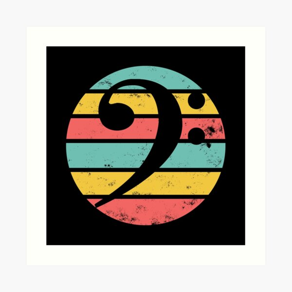 Bass Clef Retro Sunset Distressed Art Print