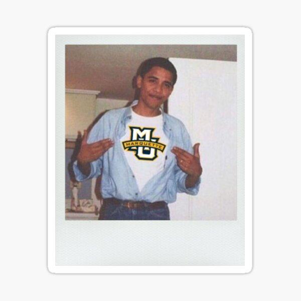 Obama wearing Marquette logo polaroid  Sticker
