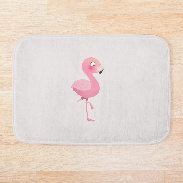Baby flamingo cute hot pink nursery illustration Bath Mat