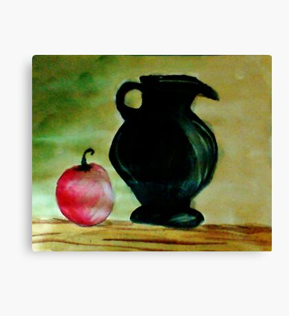 Black Ceramic Pitcher and Apple, watercolor Canvas Print