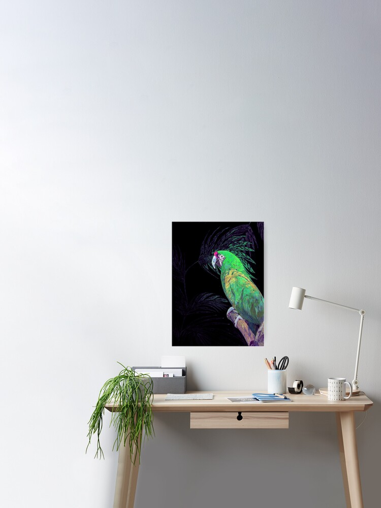 Silvered Glitter Tropical Green Parrot On Black Poster Print Deco