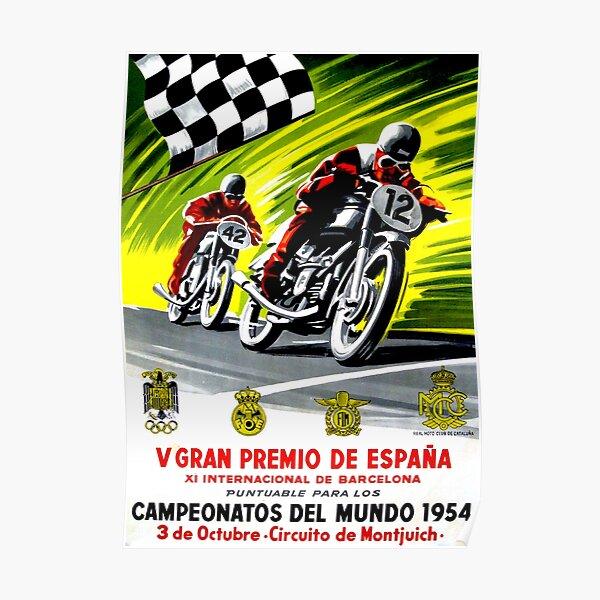 """Impression publicitaire de moto vintage """"GRAND PRIX ESPAGNOL"""" Poster"""