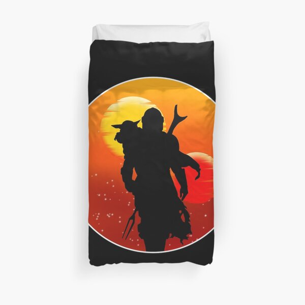 Sunset silhouette 2 suns Duvet Cover
