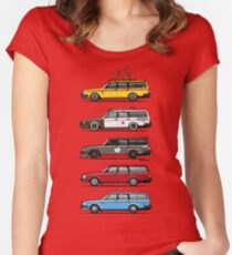 Stack of Volvo 200 Series 245 Wagons Women's Fitted Scoop T-Shirt