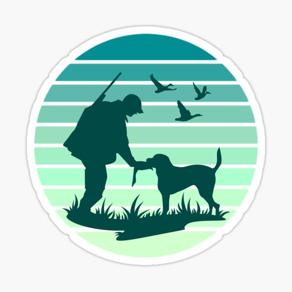 Hunter Hunt Dog Birds Retriever Vintage Retro Sunset Sticker