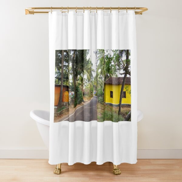 Beautiful rural Indian village house in Coastal India Shower Curtain
