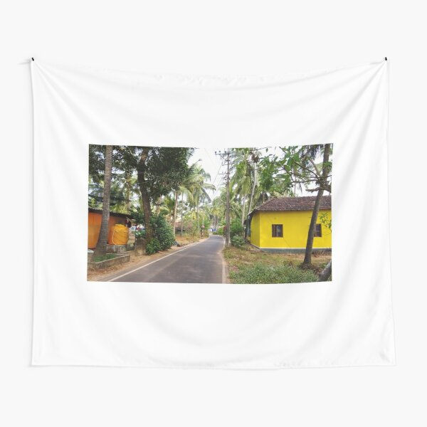 Beautiful rural Indian village house in Coastal India Tapestry