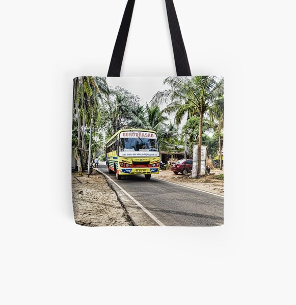 Colourful bus in rural Indian village in Coastal India All Over Print Tote Bag