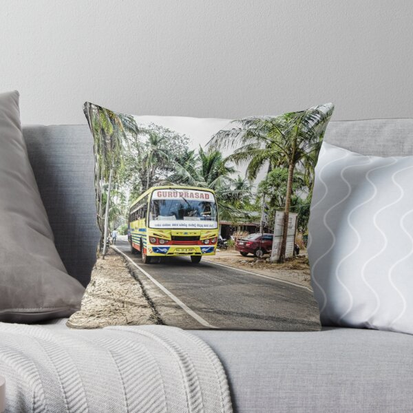 Colourful bus in rural Indian village in Coastal India Throw Pillow